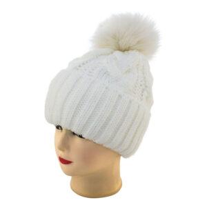 "Женская шапка с помпоном ALW 19-002 ""Косичка"""