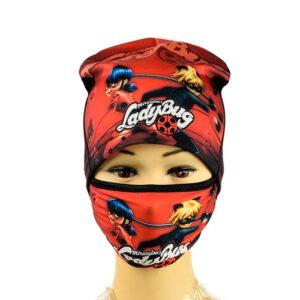 Трикотажная шапка + Маска для девочек ''Lady Bug'' AHT 074